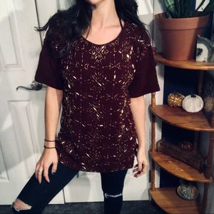 Maroon with Gold Beaded Detail Sweater Shirt
